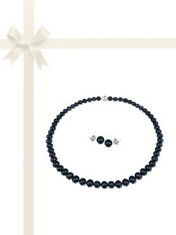 PACIFIC PEARLS BUA BAY COLLECTION Black 7-8mm Pearl Necklace & Earring Gift Set