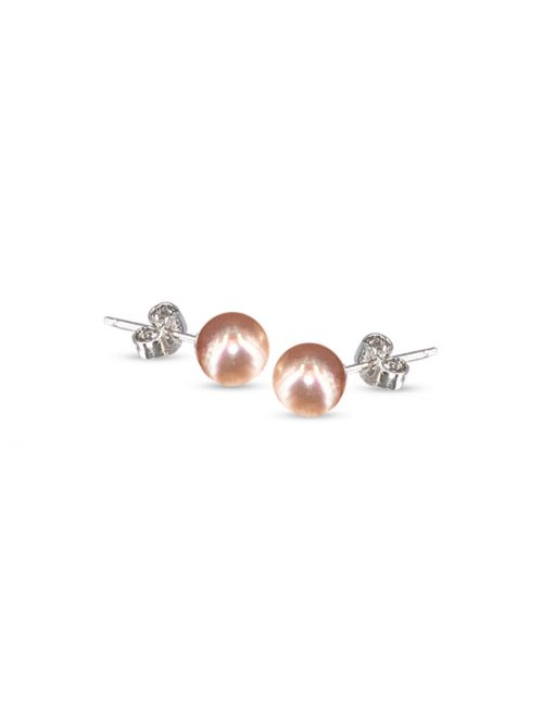 PACIFIC PEARLS BUA BAY COLLECTION Peach 7mm Pearl Stud Earrings
