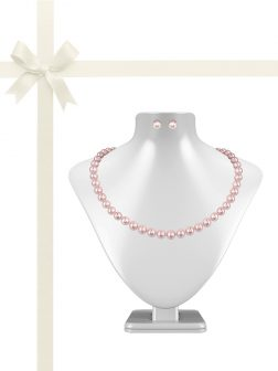 PACIFIC PEARLS BUA BAY COLLECTION Pink 7-8mm Pearl Necklace & Earring Gift Set