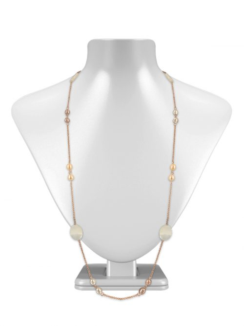 PACIFIC PEARLS KIRIBATI COLLECTION 18K Rose Gold Filled Pastel Pearl & Mother-of-Pearl Opera Necklace