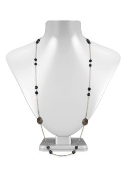 PACIFIC PEARLS KIRIBATI COLLECTION 18K White Gold Filled Black Pearl & Mother-of-Pearl Opera Necklace
