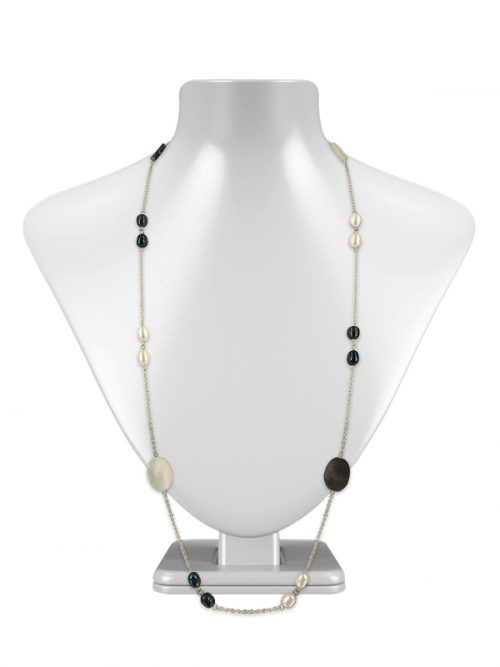 PACIFIC PEARLS KIRIBATI COLLECTION 18K White Gold Filled Black & White Pearl & Mother-of-Pearl Opera Necklace