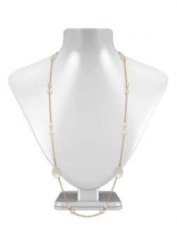 PACIFIC PEARLS KIRIBATI COLLECTION 18K Yellow Gold Filled White Pearl & Mother-of-Pearl Opera Necklace