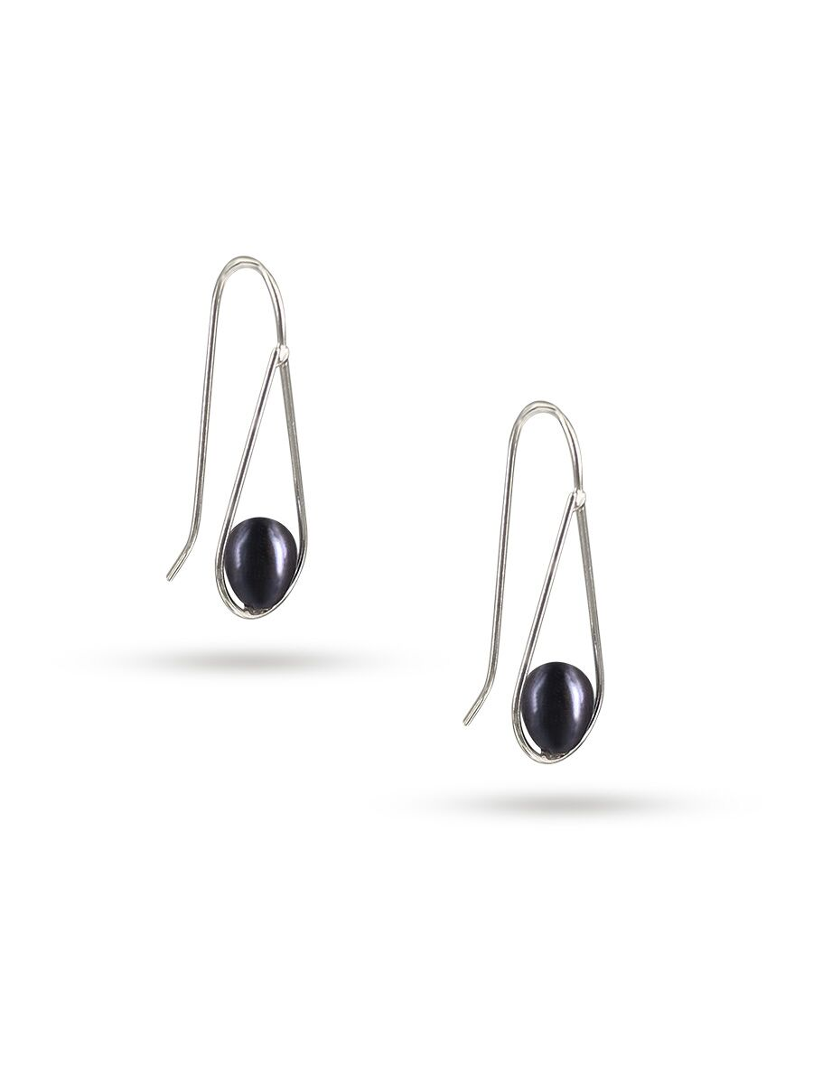 PACIFIC PEARLS NOUVELLE-CALÉDONIE COLLECTION Swing Time 925 Sterling Silver Black Pearl Earrings