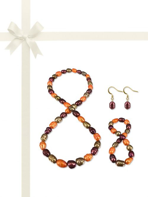 PACIFIC PEARLS RAINBOW REEF COLLECTION Canadian Autumn 10-12mm Honey Dipper Pearl Gift Set