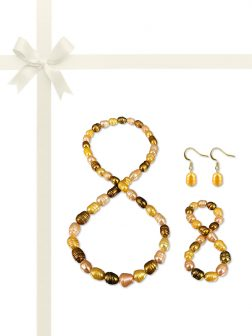 PACIFIC PEARLS RAINBOW REEF COLLECTION Moroccan Harvest 10-12mm Honey Dipper Pearl Gift Set
