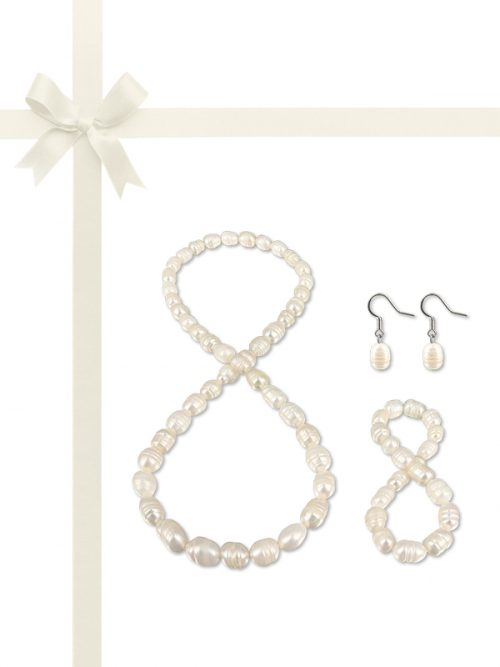 PACIFIC PEARLS RAINBOW REEF COLLECTION Swiss Snowscape 10-12mm Honey Dipper Pearl Gift Set