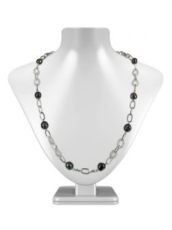 PACIFIC PEARLS SUNSHINE COAST COLLECTION 18K White Gold Filled Pearl & Swarovski Necklace & Bracelet Set
