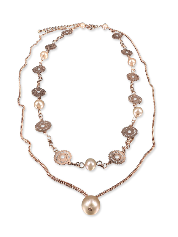 PACIFIC PEARLS SUNSHINE COAST COLLECTION Soileil 18K Rose Gold Filled Graduated Pearl Necklace