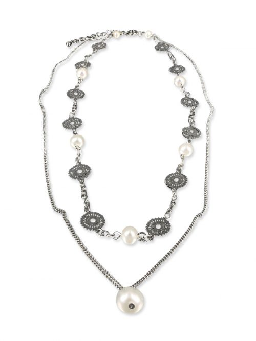 PACIFIC PEARLS SUNSHINE COAST COLLECTION Soileil 18K White Gold Filled Graduated Pearl Necklace