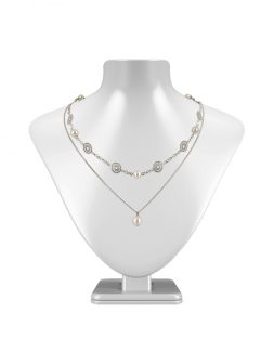 PACIFIC PEARLS SUNSHINE COAST COLLECTION Soleil 18K White Gold Filled Graduated Pearl Necklace