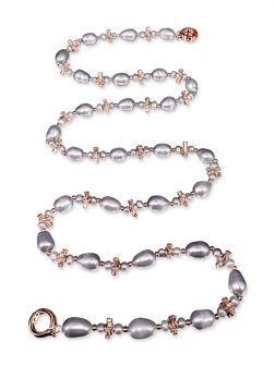 PACIFIC PEARLS TERAINA COVE COLLECTION 18K Rose Gold Filled Pearl & Swarovski Statement Necklace