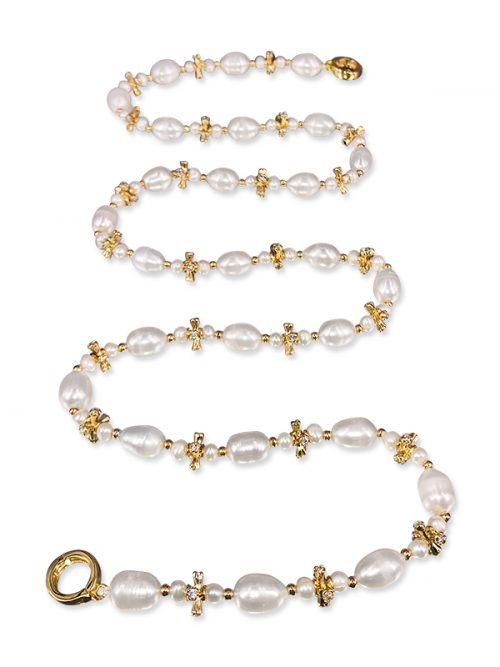 PACIFIC PEARLS TERAINA COVE COLLECTION 18K Yellow Gold Filled Pearl & Swarovski Statement Necklace