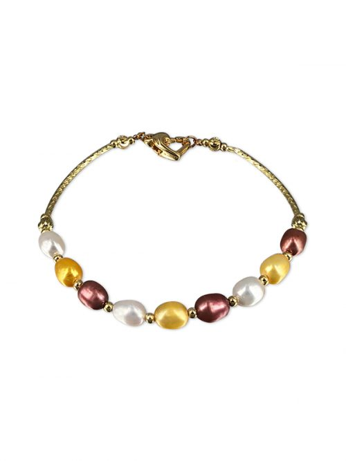 PACIFIC PEARLS SULU SEA COLLECTION Centre Court 18K Yellow Gold Filled Pearl Tennis Bracelet