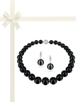 PACIFIC PEARLS VANUATU COLLECTION Black Panther 13-15mm Metallic Edison Pearl Gift Set