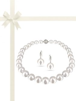 PACIFIC PEARLS VANUATU COLLECTION Pavlova 13-15mm Metallic Edison Pearl Gift Set