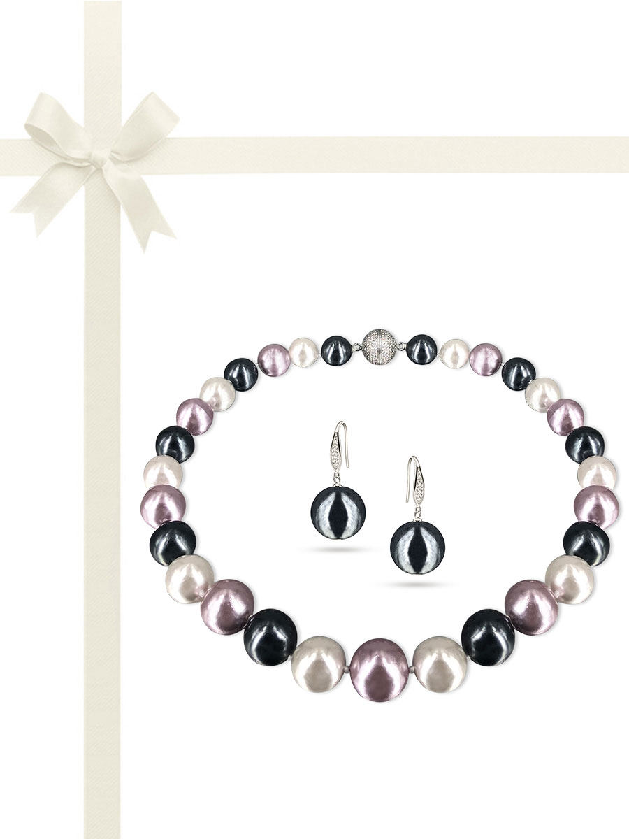 PACIFIC PEARLS VANUATU COLLECTION Riviera 13-15mm Metallic Edison Pearl Gift Set