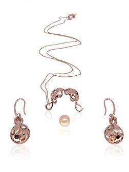 PACIFIC PEARLS BUA BAY COLLECTION Goal! 18K Rose Gold Diamond Pavé Pearl Locket Pendant & Earrings