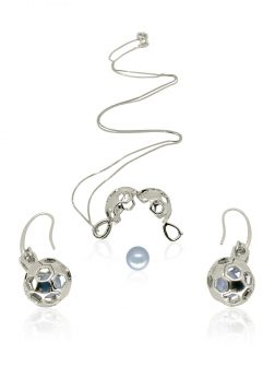 PACIFIC PEARLS BUA BAY COLLECTION Goal! 18K White Gold Diamond Pavé Pearl Locket Pendant & Earrings