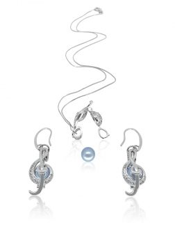 PACIFIC PEARLS BUA BAY COLLECTION Rhapsody 18K White Gold Diamond Pavé Pearl Locket Pendant & Earrings
