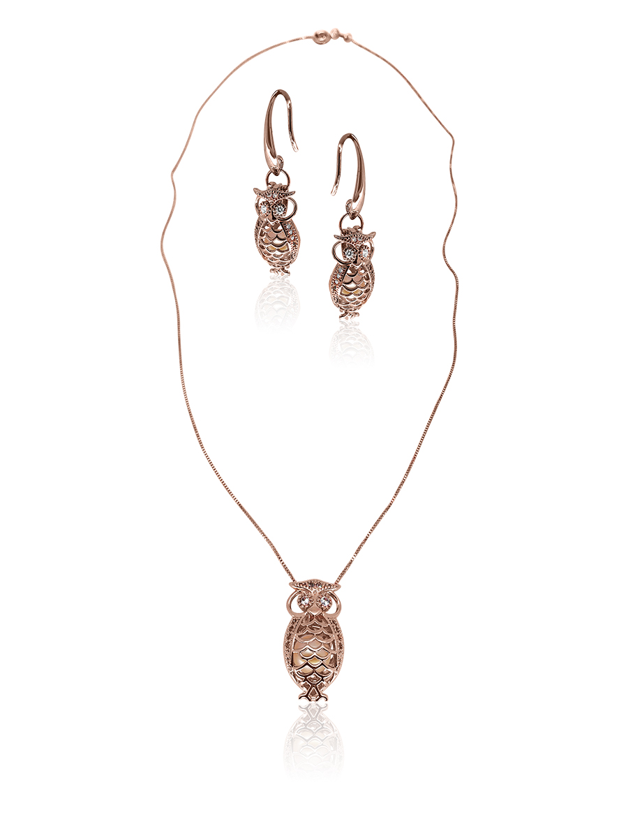 PACIFIC PEARLS BUA BAY COLLECTION Wise Owl 18K Rose Gold Diamond Pavé Pearl Locket Pendant & Earrings