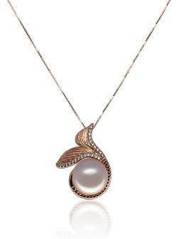 MERMAID BEACH COLLECTION Make Waves™ Diamond Pavé Rose Gold Signature Pearl Pendant