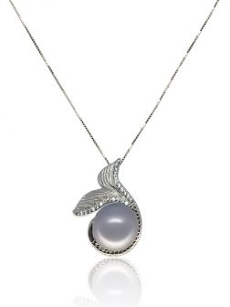 MERMAID BEACH COLLECTION Make Waves™ Diamond Pavé White Gold Signature Pearl Pendant