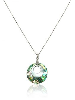 OYSTER BAY COLLECTION Nanumea Atoll South Sea Mother-of-Pearl & Pāua Abalone Pendant