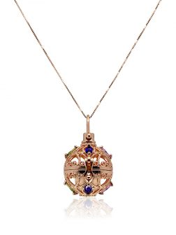 ROYAL FALLS COLLECTION Fabergé Rose Gold Swarovski Encrusted Pearl Locket Pendant