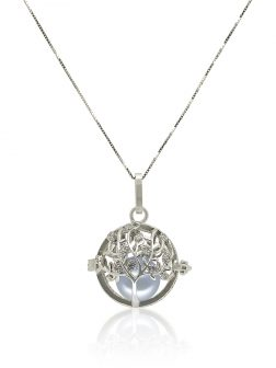 ROYAL FALLS COLLECTION Tree of Life White Gold Diamond Pavé Pearl Locket Pendant