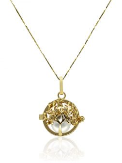 ROYAL FALLS COLLECTION Tree of Life Yellow Gold Diamond Pavé Pearl Locket Pendant
