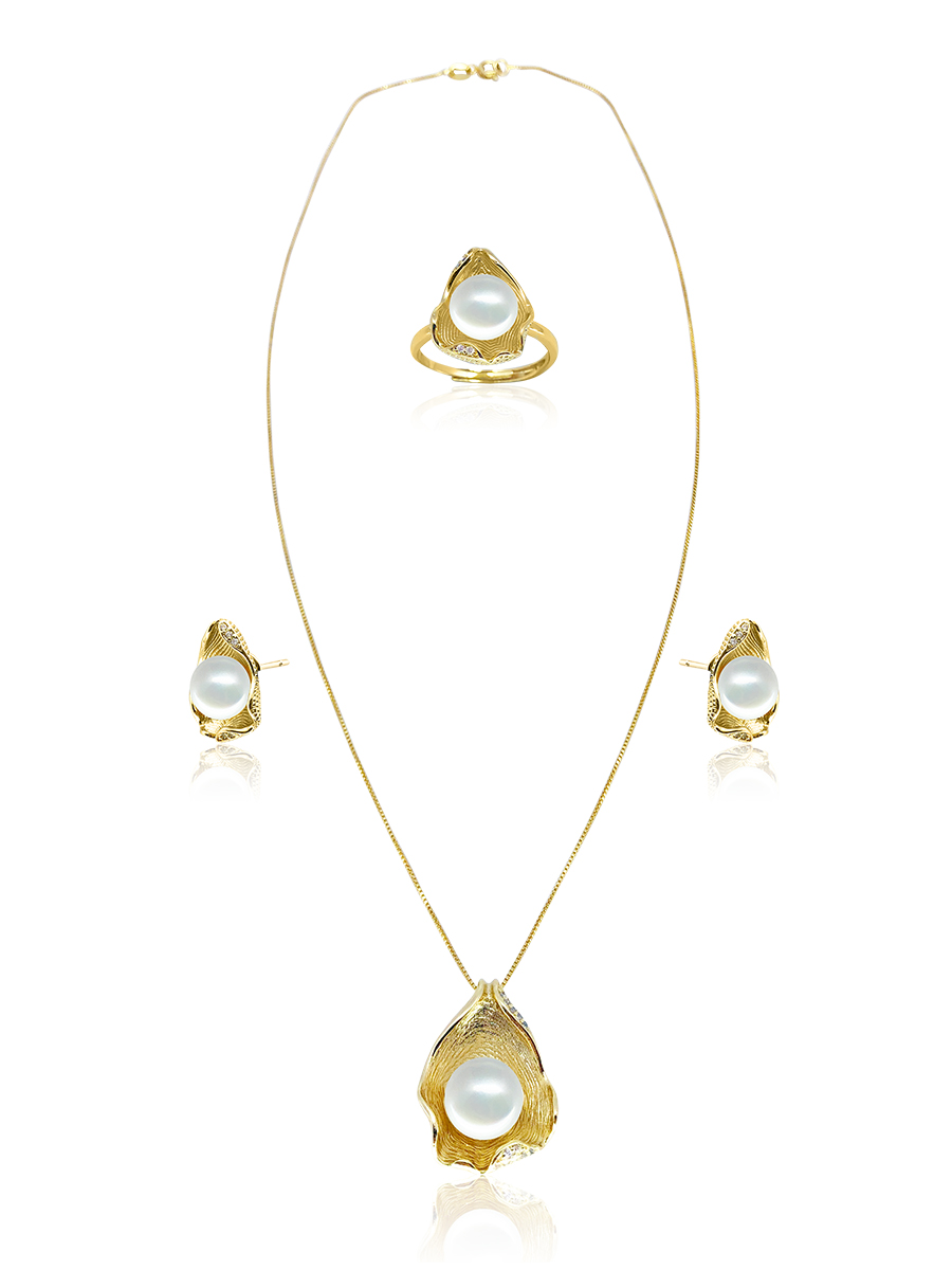 PACIFIC PEARLS BORA BORA COLLECTION Ceylon Diamond Pavé White Pearl Pendant, Ring, & Earring Set