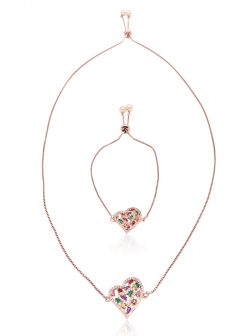 BUA BAY COLLECTION Soulmates Peach Pearl & Swarovski Sliding Pendant & Bracelet Set