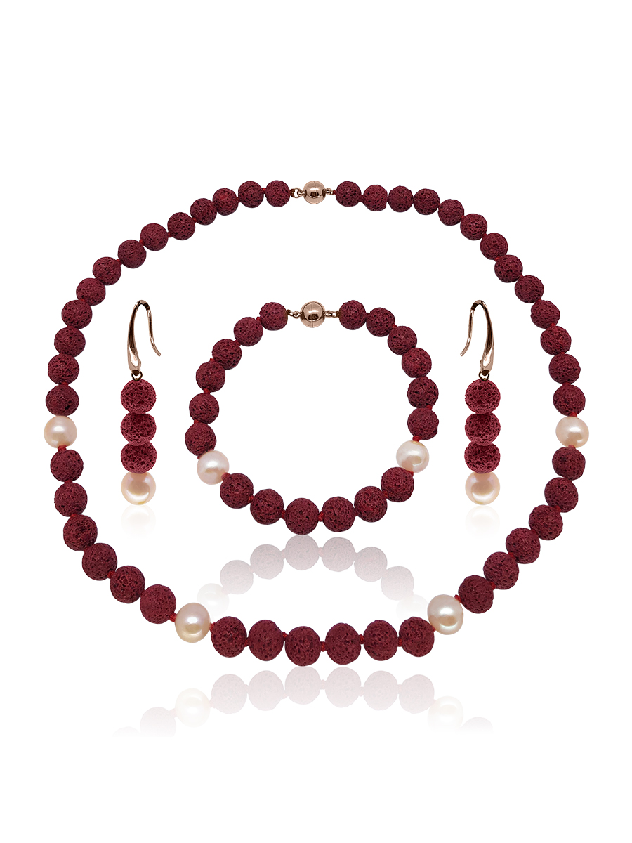 GALÁPAGOS COLLECTION Magma Red Volcanic Lava & Peach Pearl Necklace, Bracelet, & Earrings
