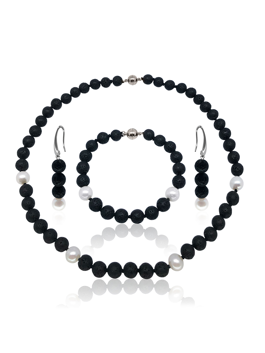 GALÁPAGOS COLLECTION Molten Black Volcanic Lava & White Pearl Necklace, Bracelet, & Earrings