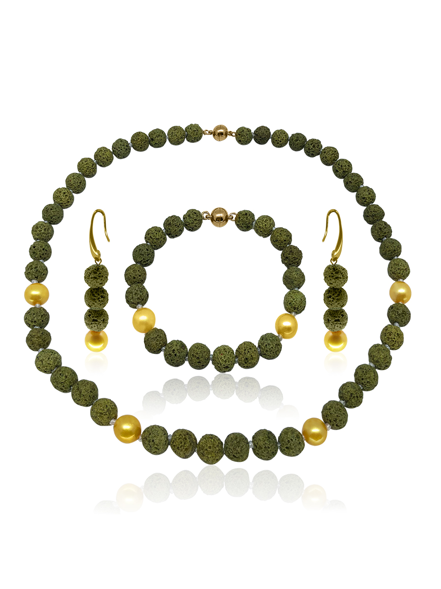 GALÁPAGOS COLLECTION Rainforest Green Volcanic Lava & Gold Pearl Necklace, Bracelet, & Earrings