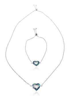 """PACIFIC PEARLS GALÁPAGOS COLLECTION """"Two Hearts – One Love"""" 18K White Gold Filled Sliding Pendant & Bracelet"""