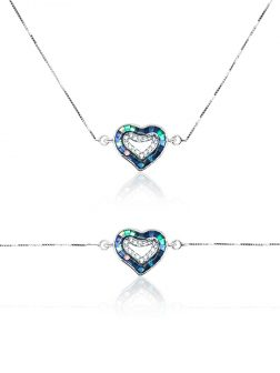 """GALÁPAGOS COLLECTION """"Two Hearts – One Love"""" 18K White Gold Filled Sliding Pendant & Bracelet"""