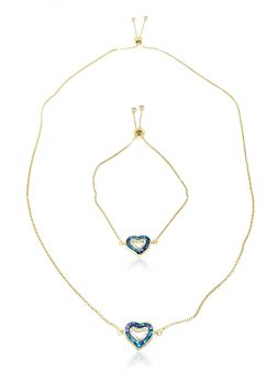 PACIFIC PEARLS GALÁPAGOS COLLECTION Two Hearts - One Love 18K Yellow Gold Filled Sliding Pendant & Bracelet Set