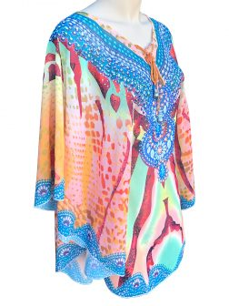 POLYNESIA COLLECTION Seychelles Designer Resort Wear Tunic with 25mm Giant Baroque Pearls