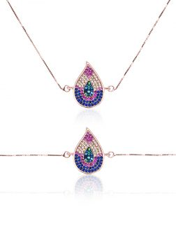 RAINBOW REEF COLLECTION Monsoon Swarovski Encrusted Rose Gold Sliding Pendant & Bracelet Set