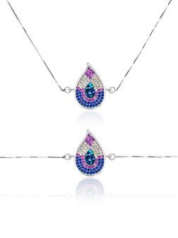 RAINBOW REEF COLLECTION Monsoon Swarovski Encrusted White Gold Sliding Pendant & Bracelet Set