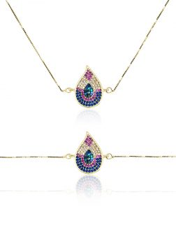 RAINBOW REEF COLLECTION Monsoon Swarovski Encrusted Yellow Gold Sliding Pendant & Bracelet Set