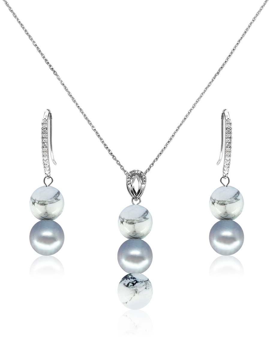 PACIFIC PEARLS TREASURE ISLAND COLLECTION Zimbabwean Howlite & Silver-Gray Pearl Pendant & Earrings