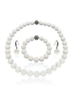 PACIFIC PEARLS WAIKIKI COLLECTION Hand-Carved White 12-13mm Giant Clam Shell Pearl Necklace, Bracelet, & Earrings