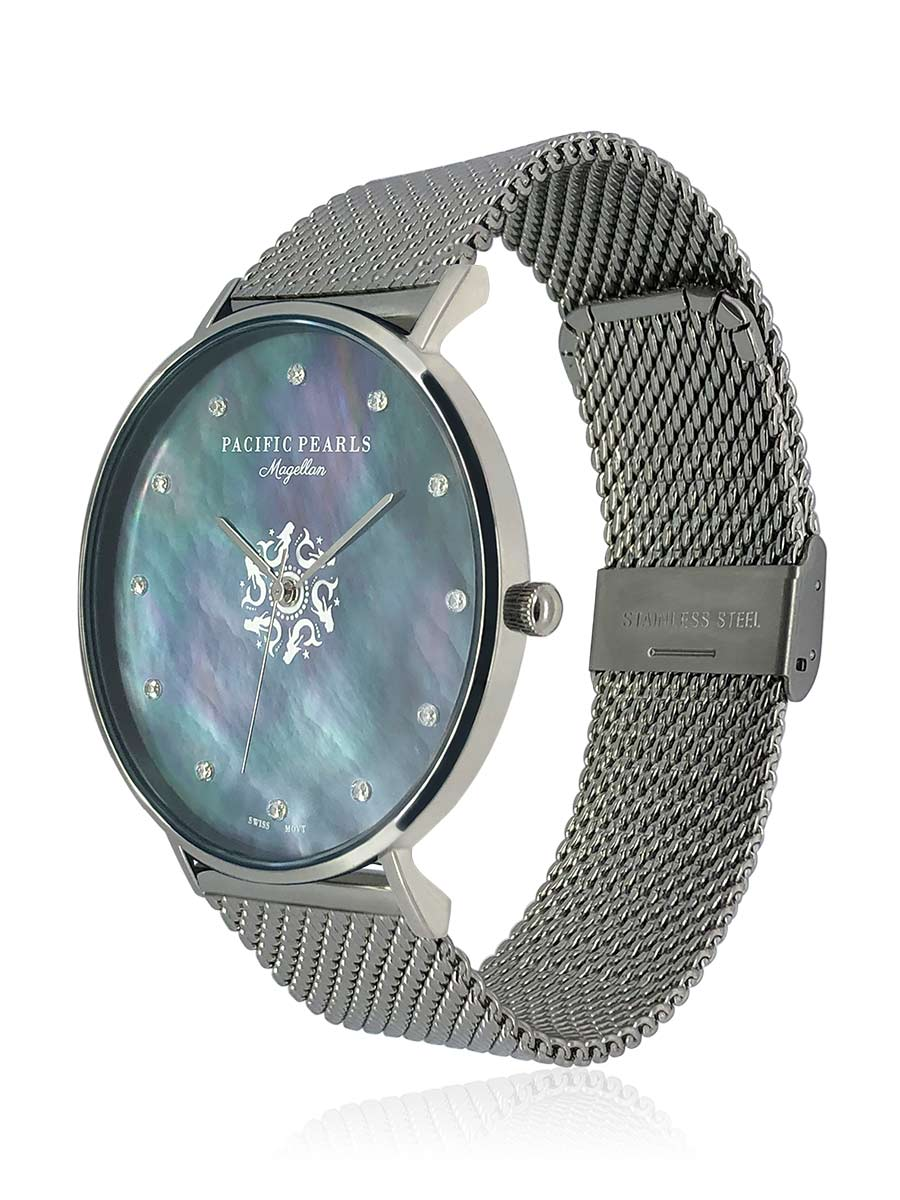 PACIFIC PEARLS BORA BORA COLLECTION Magellan Diamond Encrusted Black South Sea Mother-of-Pearl Watch with Mesh Bracelet