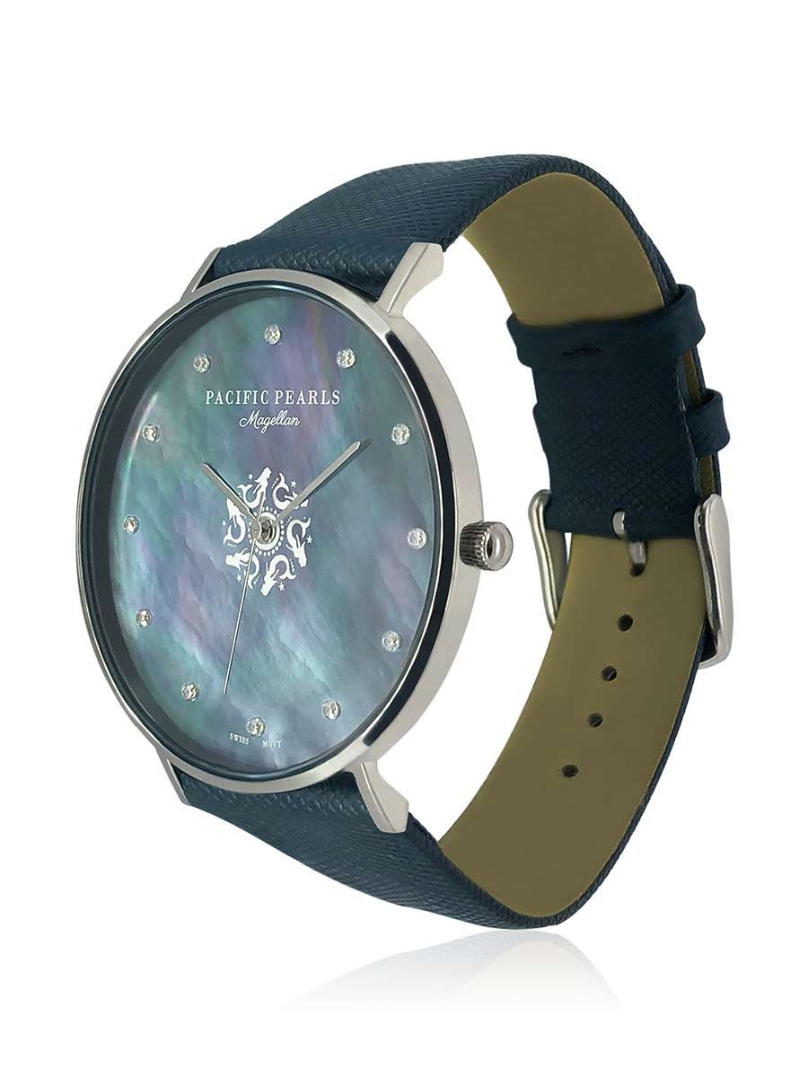 PACIFIC PEARLS BORA BORA COLLECTION Magellan Diamond Encrusted Black South Sea Mother-of-Pearl Watch with White Crocodile Leather Strap