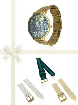 PACIFIC PEARLS GALÁPAGOS COLLECTION 18K Yellow Gold Abalone Watch Gift Set
