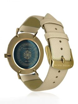 PACIFIC PEARLS GALÁPAGOS COLLECTION 18K Yellow Gold Abalone Watch with Blush Saffiano Leather Strap