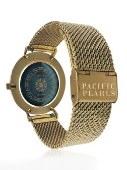 PACIFIC PEARLS GALÁPAGOS COLLECTION 18K Yellow Gold Abalone Watch with Mesh Bracelet